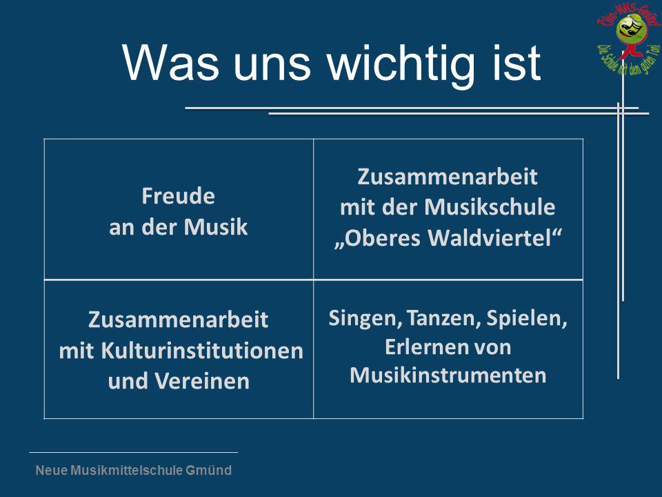 """Neue Musikmittelschule Gmünd Was uns wichtig ist Freude an der Musik Zusammenarbeit mit der Musikschule """"Oberes Waldviertel"""" Zusammenarbeit mit Kultur"""