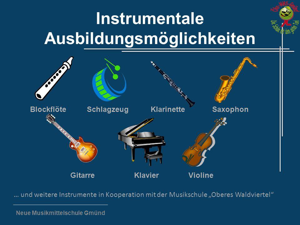 """Neue Musikmittelschule Gmünd Instrumentale Ausbildungsmöglichkeiten … und weitere Instrumente in Kooperation mit der Musikschule """"Oberes Waldviertel"""""""