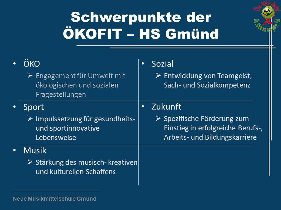 Neue Musikmittelschule Gmünd Schwerpunkte der ÖKOFIT – HS Gmünd ÖKO  Engagement für Umwelt mit ökologischen und sozialen Fragestellungen Sport  Impu