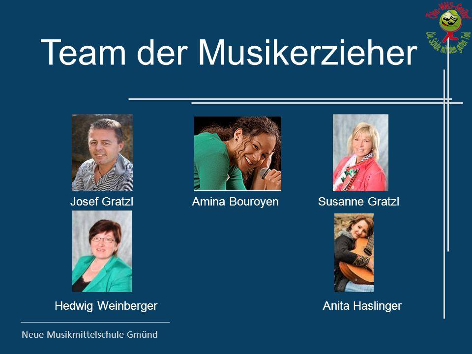 Neue Musikmittelschule Gmünd Team der Musikerzieher Josef GratzlAmina Bouroyen Hedwig Weinberger Susanne Gratzl Anita Haslinger