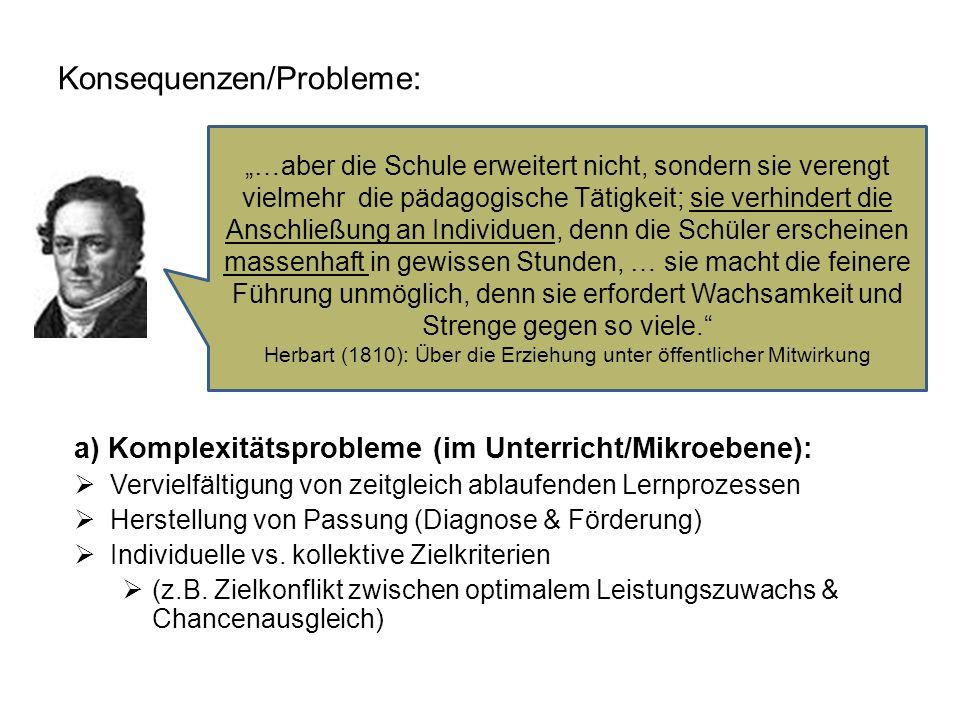 Konsequenzen/Probleme: a) Komplexitätsprobleme (im Unterricht/Mikroebene):  Vervielfältigung von zeitgleich ablaufenden Lernprozessen  Herstellung von Passung (Diagnose & Förderung)  Individuelle vs.
