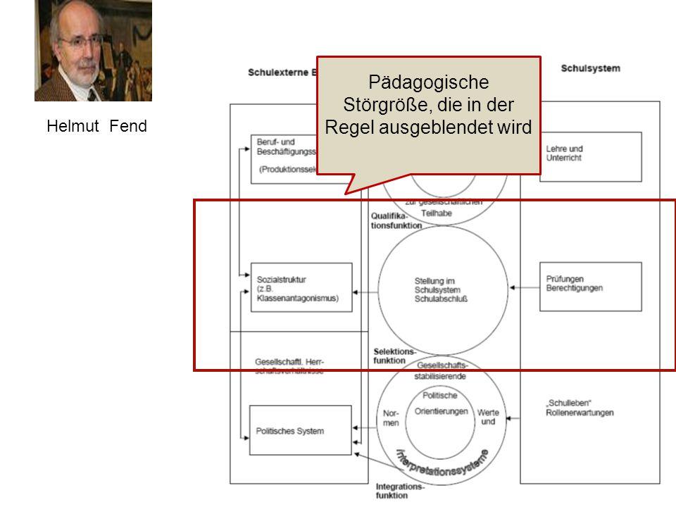 Helmut Fend Pädagogische Störgröße, die in der Regel ausgeblendet wird
