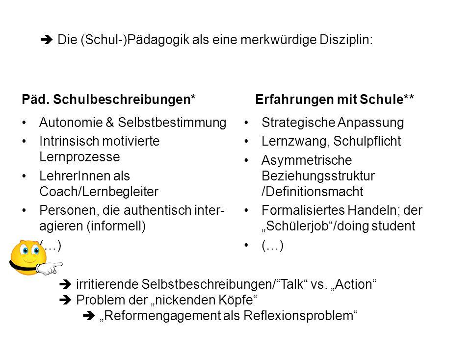 """Deutungen:  Nicht die Akteure """"diskriminieren , sondern die Institution (= institutionelle Diskriminierung)  Organisationslogik (Komplextätsreduktion/Selektion/Allokation) determiniert den Umgang mit Heterogenität –Schülerzuweisung/-ablehnung nach Ressourcen –Vereinfachende Schülerklassifikation  Anschließende Legitimation durch """"pädagogische Argumente Reflexionsfragen: Können LehrerInnen Heterogenität überhaupt als Bereicherung bewerten."""