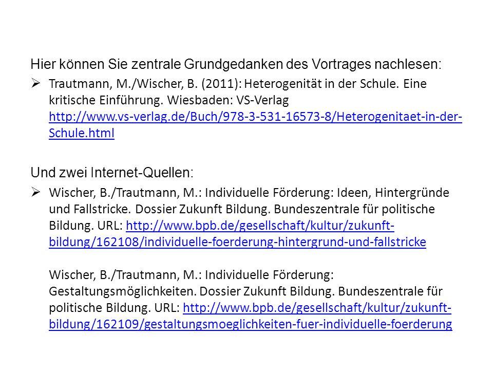 Hier können Sie zentrale Grundgedanken des Vortrages nachlesen:  Trautmann, M./Wischer, B.