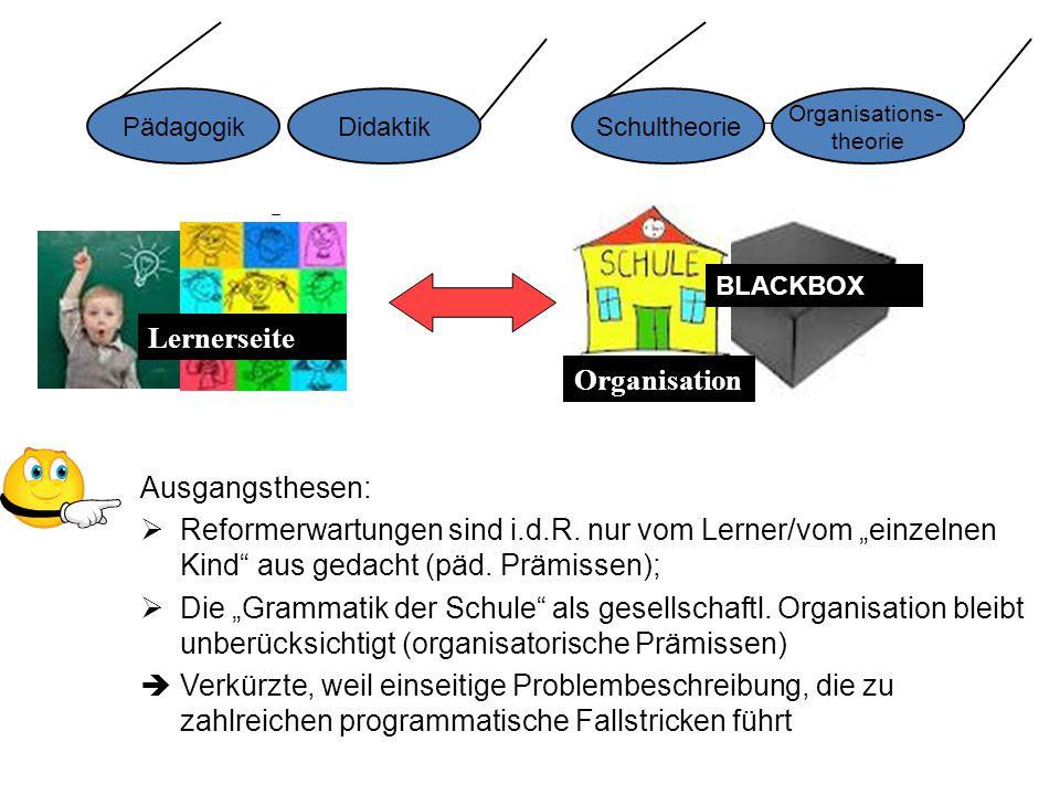 """ Allokationsfunktion ist ein zentraler Bestandteil der Grammatik der Schule:  Transformation von """"Schülermerkmalen in Leistungsunterschiede als eigengesetzliche klassifikatorische Praxis  Besser-Schlechter-Klassifikation als Grundmodus (vs."""