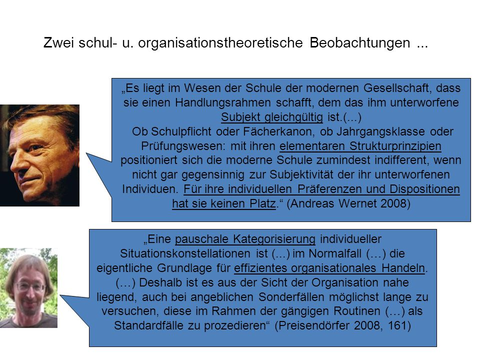 Zwei schul- u.organisationstheoretische Beobachtungen...