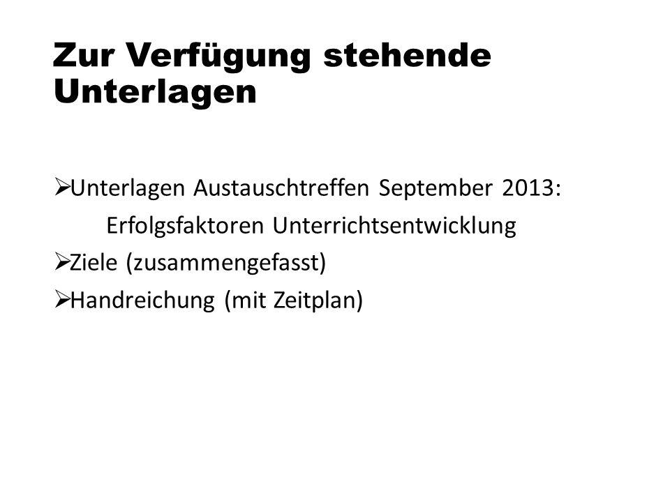 Zur Verfügung stehende Unterlagen  Unterlagen Austauschtreffen September 2013: Erfolgsfaktoren Unterrichtsentwicklung  Ziele (zusammengefasst)  Han