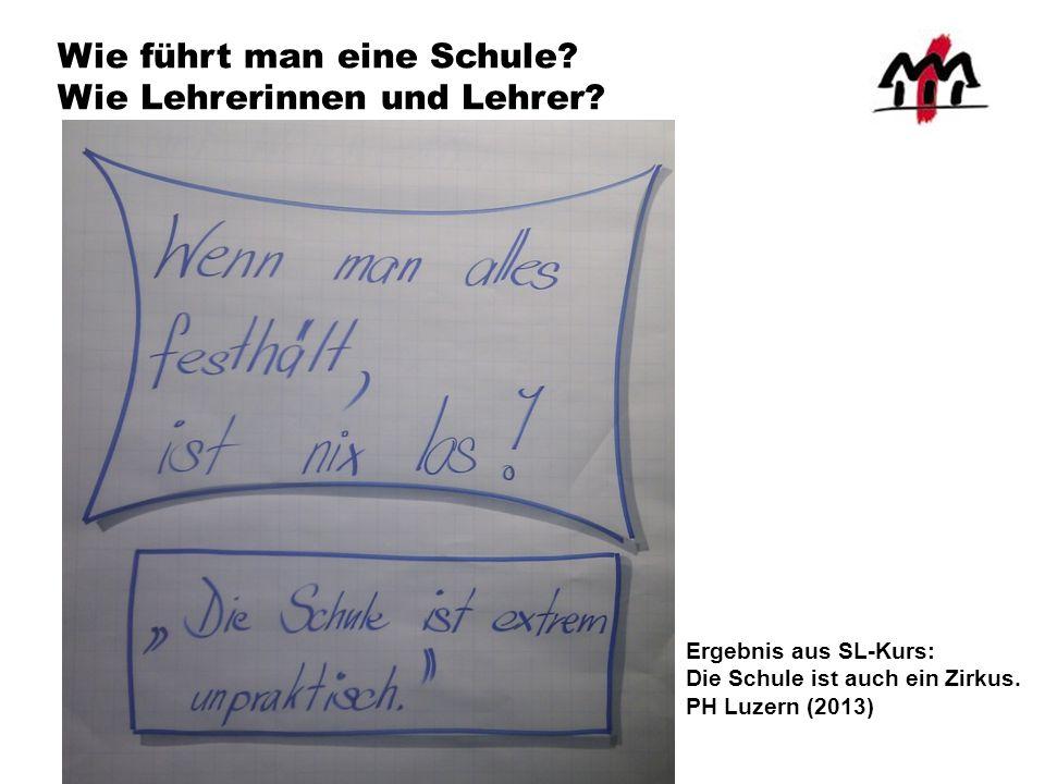 Wie führt man eine Schule? Wie Lehrerinnen und Lehrer? Ergebnis aus SL-Kurs: Die Schule ist auch ein Zirkus. PH Luzern (2013)