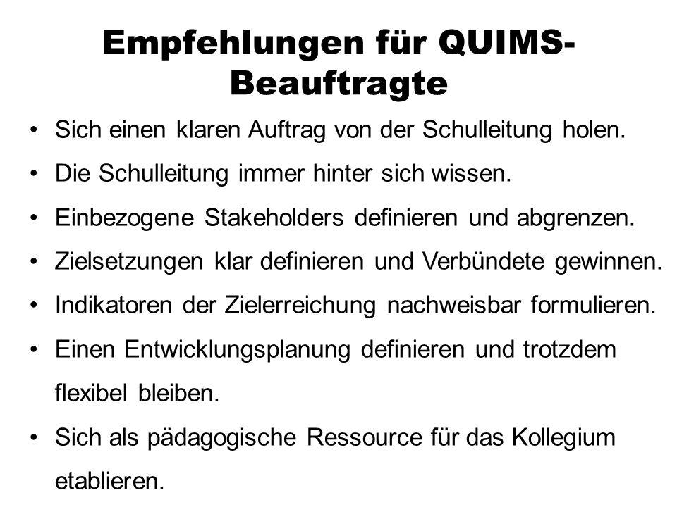 Empfehlungen für QUIMS- Beauftragte Sich einen klaren Auftrag von der Schulleitung holen. Die Schulleitung immer hinter sich wissen. Einbezogene Stake