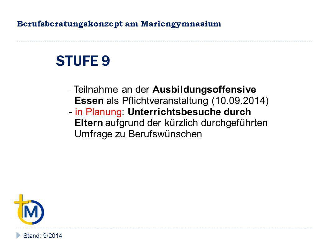 Berufsberatungskonzept am Mariengymnasium Stand: 9/2014 STUFEN 9 BIS Q2 - Teilnahme an der Ausbildungsoffensive Essen (1 x im Jahr) - in Planung: Berufemarkt (samstags, geplant für Frühjahr 2015) unter Elternbeteiligung - ggf.