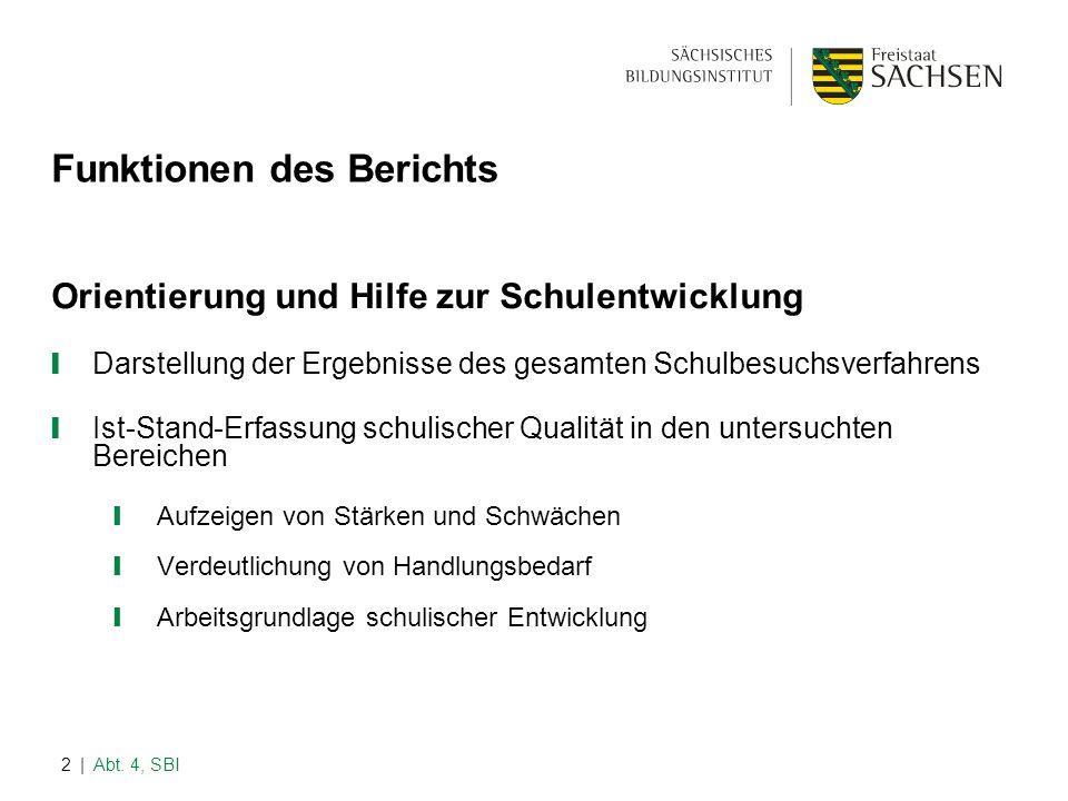 | Abt. 4, SBI2 Funktionen des Berichts Orientierung und Hilfe zur Schulentwicklung ❙ Darstellung der Ergebnisse des gesamten Schulbesuchsverfahrens ❙
