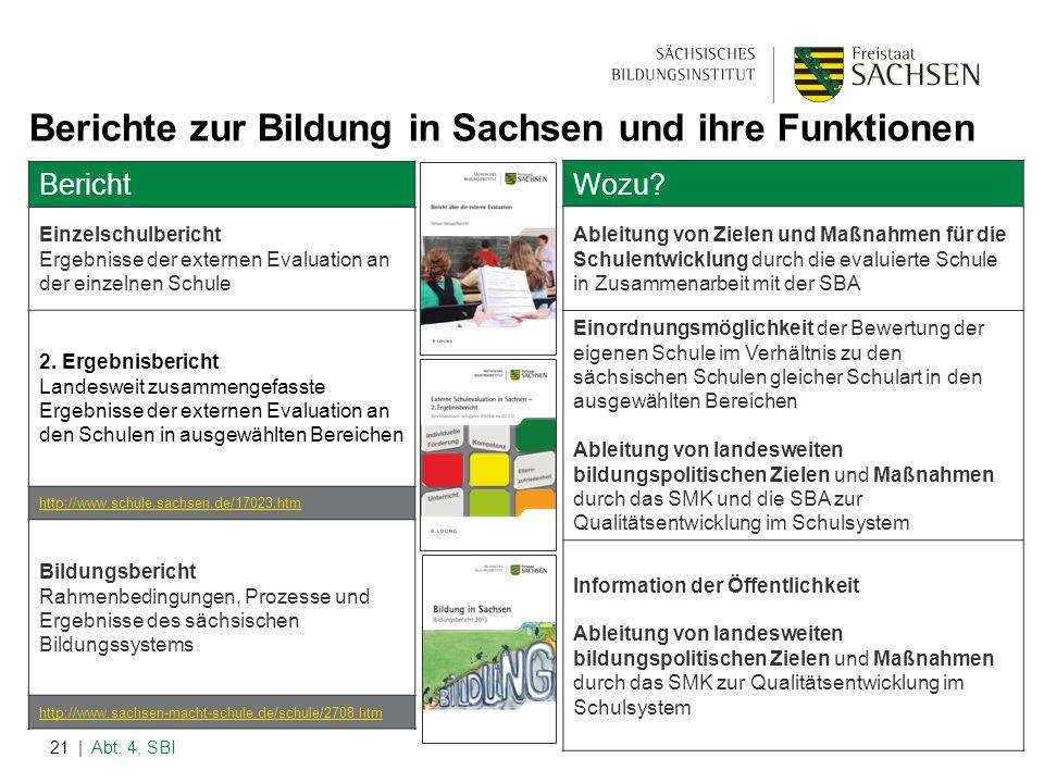 | Abt. 4, SBI21 Berichte zur Bildung in Sachsen und ihre Funktionen Bericht Einzelschulbericht Ergebnisse der externen Evaluation an der einzelnen Sch
