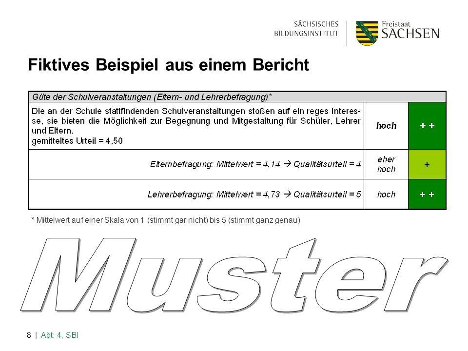 | Abt. 4, SBI8 Fiktives Beispiel aus einem Bericht * Mittelwert auf einer Skala von 1 (stimmt gar nicht) bis 5 (stimmt ganz genau)