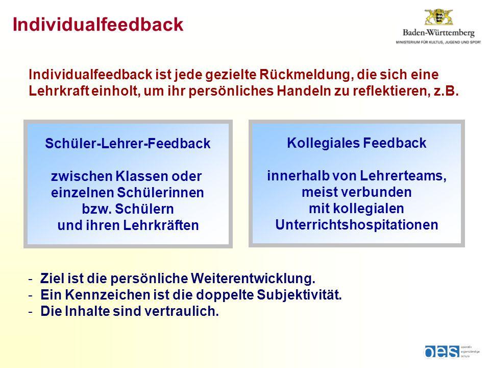 Individualfeedback Schüler-Lehrer-Feedback zwischen Klassen oder einzelnen Schülerinnen bzw.
