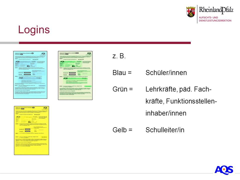 z. B. Blau =Schüler/innen Grün =Lehrkräfte, päd.