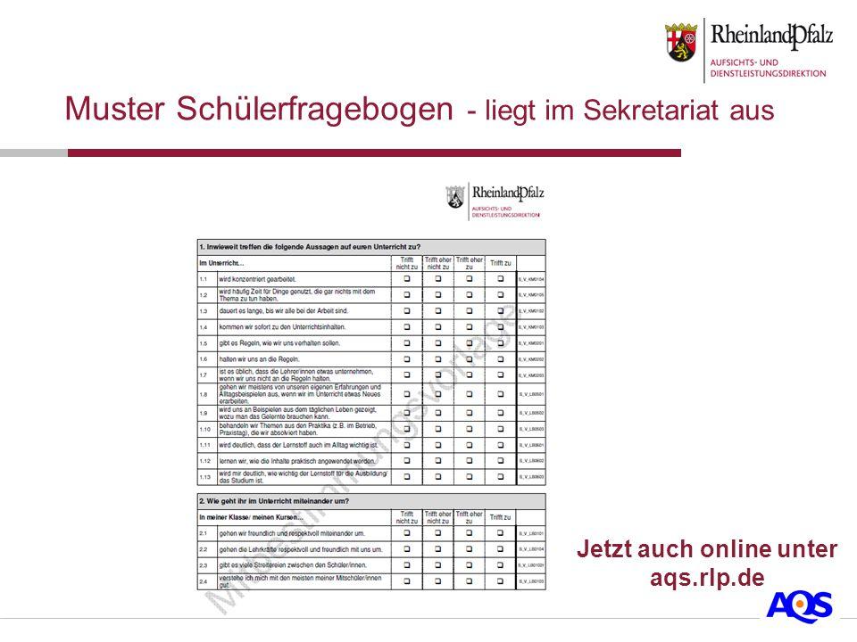 Muster Schülerfragebogen - liegt im Sekretariat aus Jetzt auch online unter aqs.rlp.de