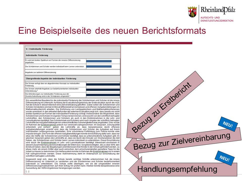Eine Beispielseite des neuen Berichtsformats Bezug zur Zielvereinbarung Bezug zu Erstbericht Handlungsempfehlung