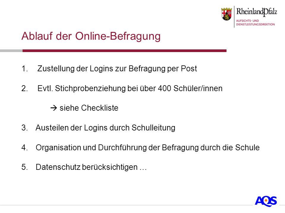Ablauf der Online-Befragung 1.Zustellung der Logins zur Befragung per Post 2.Evtl.