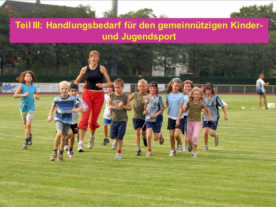 04. Mai 201028 Teil III: Handlungsbedarf für den gemeinnützigen Kinder- und Jugendsport