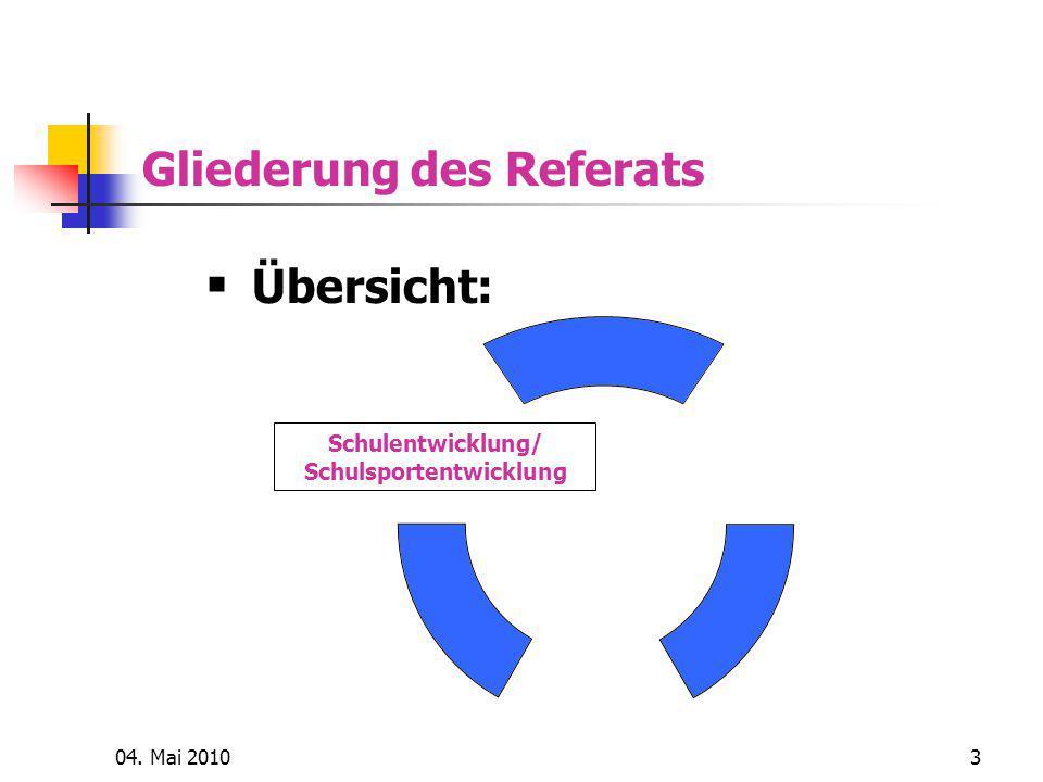 04. Mai 20103 Gliederung des Referats Schulentwicklung/ Schulsportentwicklung  Übersicht: