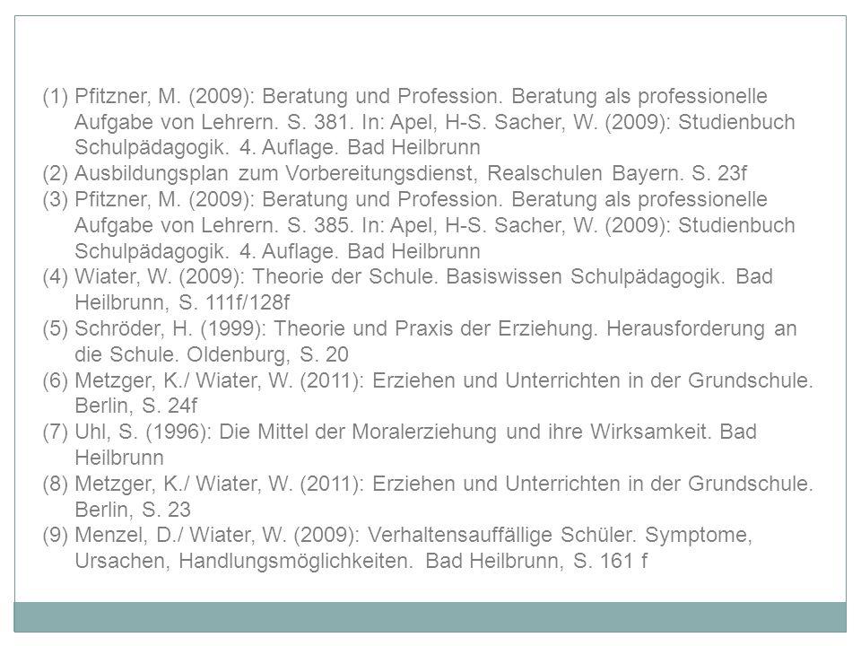 (1)Pfitzner, M. (2009): Beratung und Profession. Beratung als professionelle Aufgabe von Lehrern. S. 381. In: Apel, H-S. Sacher, W. (2009): Studienbuc