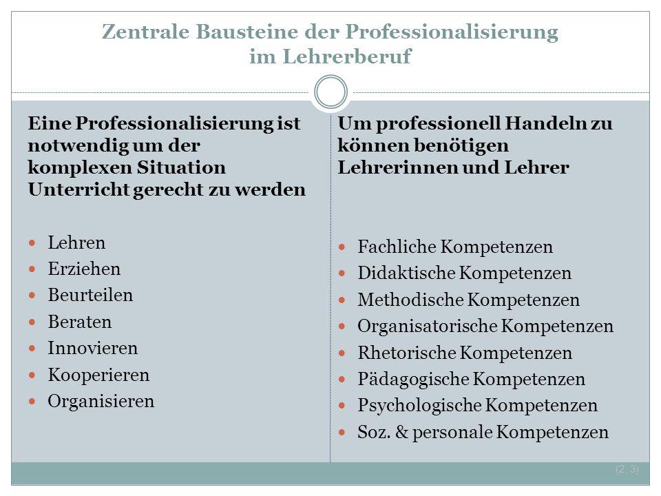 Zentrale Bausteine der Professionalisierung im Lehrerberuf Eine Professionalisierung ist notwendig um der komplexen Situation Unterricht gerecht zu we