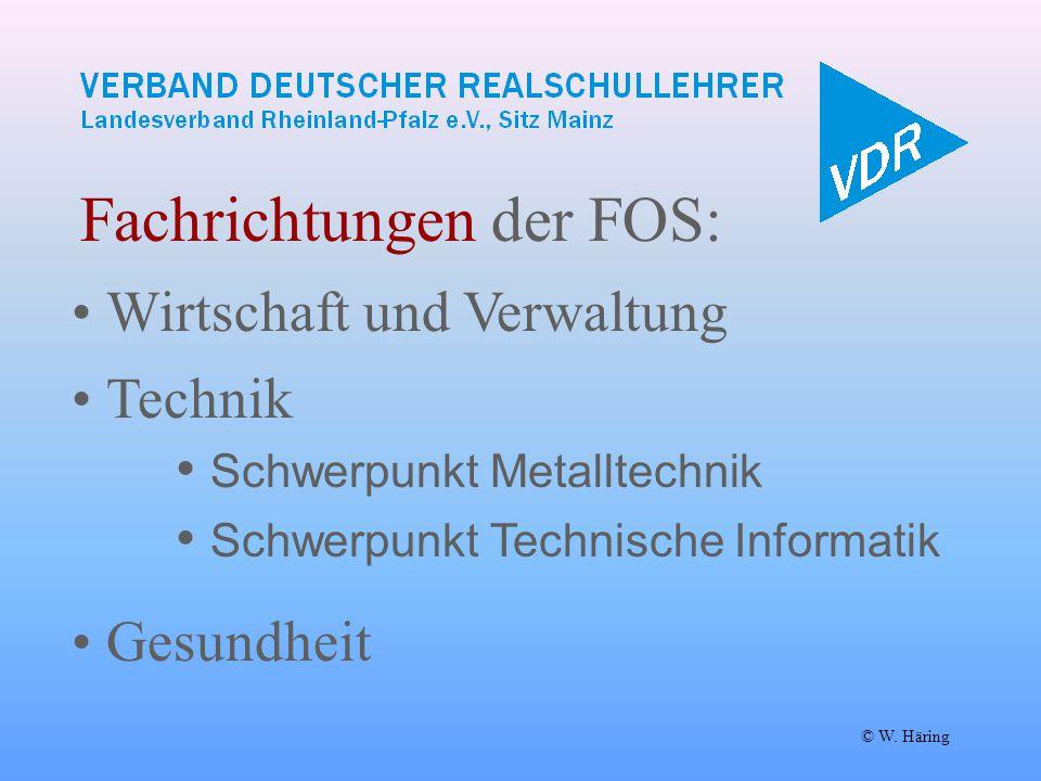 Fachrichtungen der FOS: © W. Häring Wirtschaft und Verwaltung Technik  Schwerpunkt Metalltechnik  Schwerpunkt Technische Informatik Gesundheit