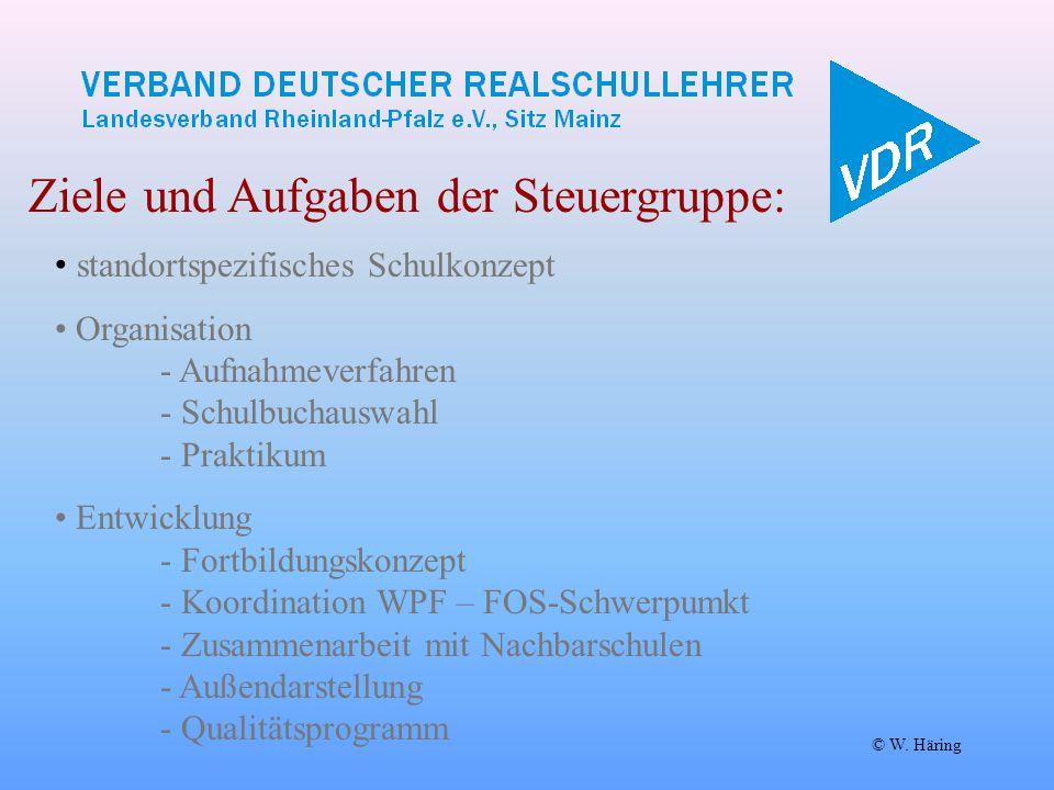 © W. Häring Ziele und Aufgaben der Steuergruppe: standortspezifisches Schulkonzept Organisation - Aufnahmeverfahren - Schulbuchauswahl - Praktikum Ent