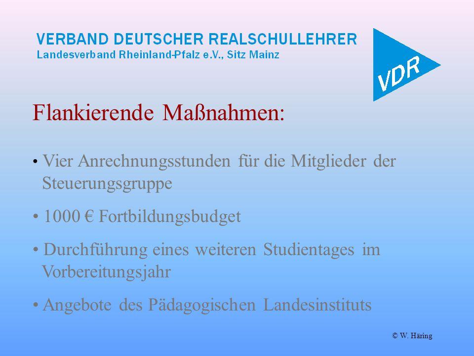 © W. Häring Flankierende Maßnahmen: Vier Anrechnungsstunden für die Mitglieder der Steuerungsgruppe 1000 € Fortbildungsbudget Durchführung eines weite
