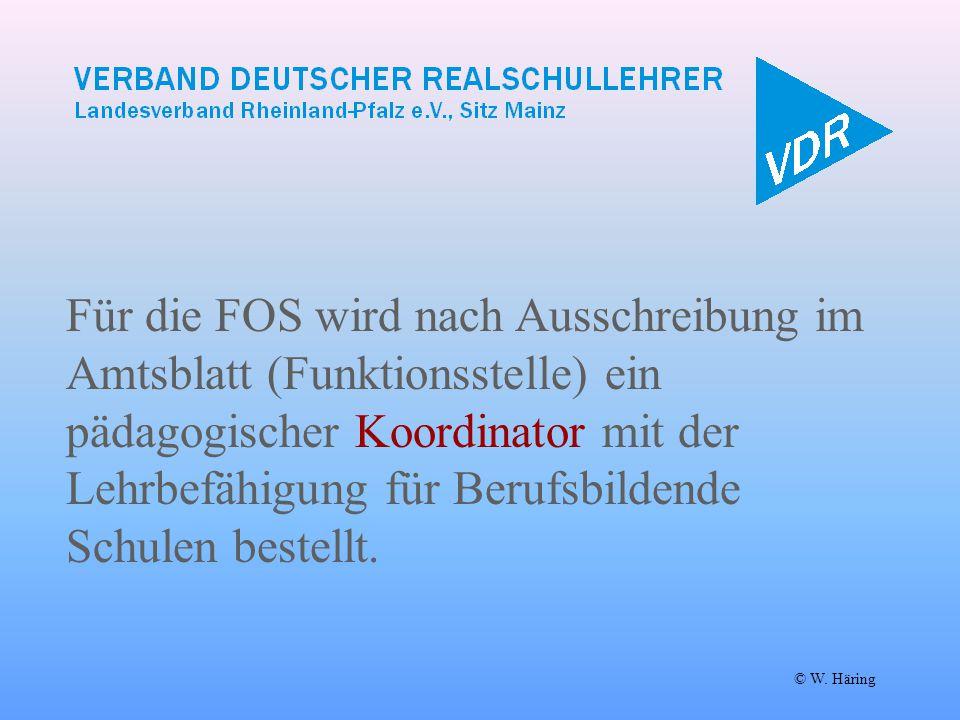 Für die FOS wird nach Ausschreibung im Amtsblatt (Funktionsstelle) ein pädagogischer Koordinator mit der Lehrbefähigung für Berufsbildende Schulen bes