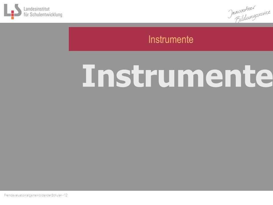 Fremdevaluation allgemein bildender Schulen - 12 Instrumente