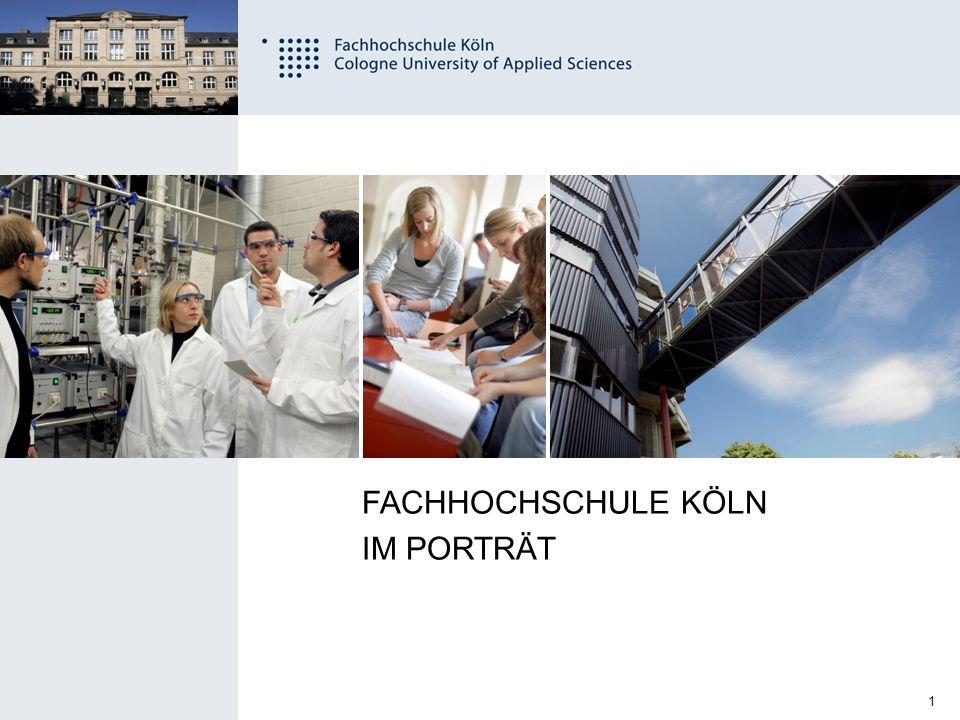 2 Fachhochschule Köln University of Applied Sciences Cologne DATEN UND FAKTEN 19.700 Studierende 4.300 Studienanfänger pro Jahr 2.500 Absolventen pro Jahr 11 Fakultäten 75 Studiengänge 1.100 Beschäftigte, davon 430 Professoren 240 Partnerhochschulen gegründet 1971 größte Hochschule für angewandte Wissenschaften in Deutschland