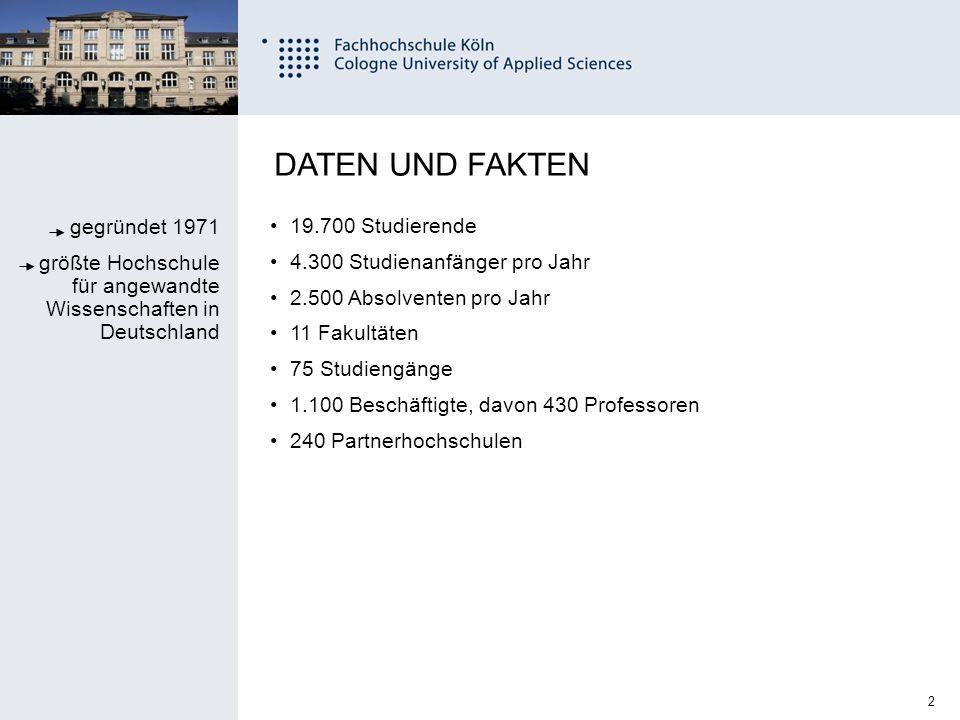 3 Fachhochschule Köln University of Applied Sciences Cologne STUDIENANGEBOT 38 Bachelor-Studiengänge 37 Master-Studiengänge