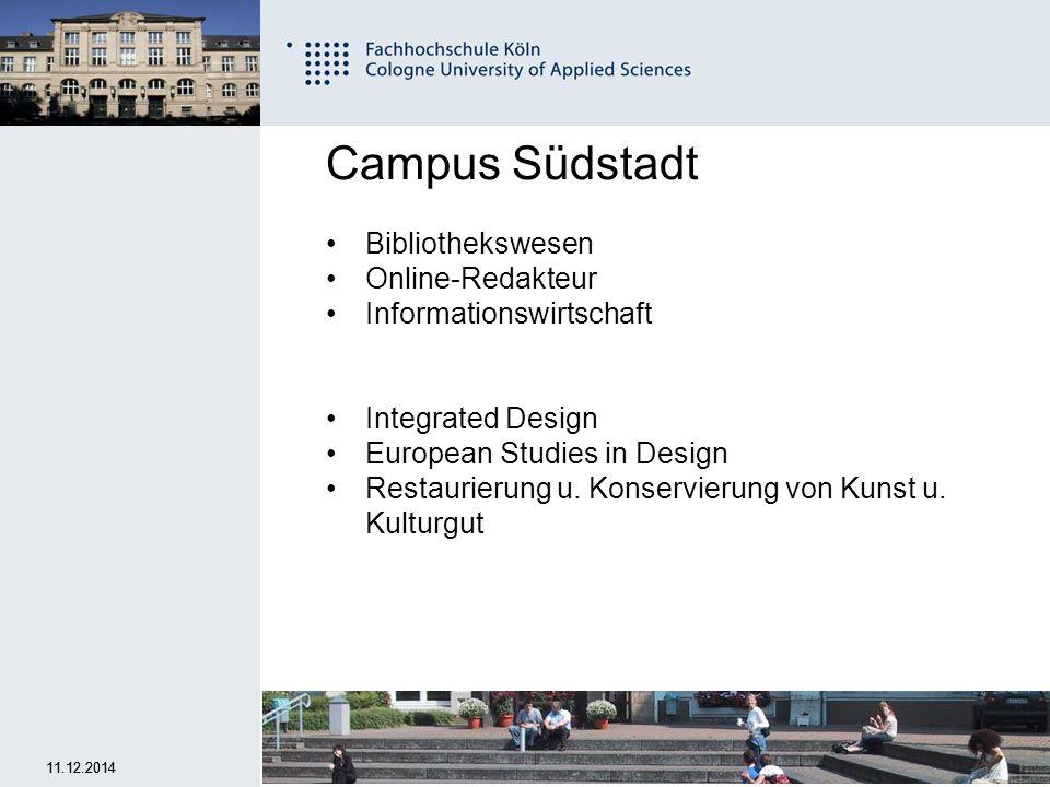 7 Fachhochschule Köln University of Applied Sciences Cologne 11.12.2014 Campus Deutz Fahrzeugtechnik Produktion und Logistik Maschinenbau mit den Studienrichtungen:.