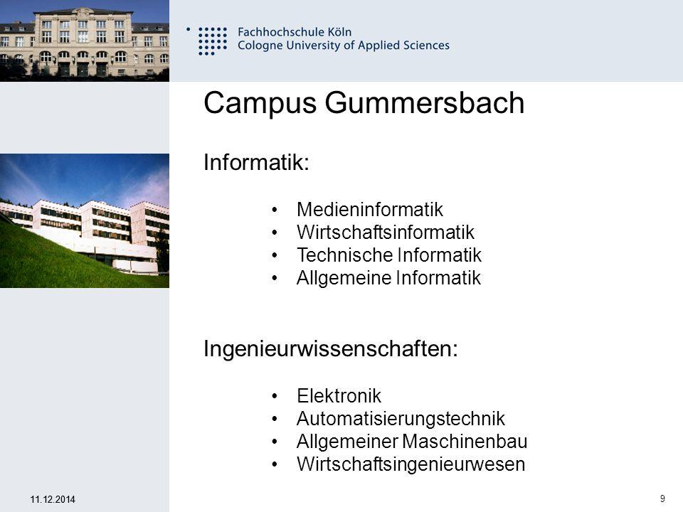 10 Fachhochschule Köln University of Applied Sciences Cologne 11.12.2014 2 gemeinsame Semester 10 Sem.