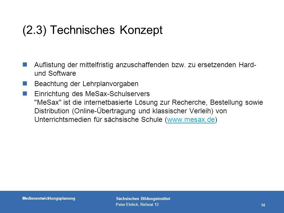 Medienentwicklungsplanung Sächsisches Bildungsinstitut Peter Ehrlich, Referat 13 14 (2.3) Technisches Konzept nAuflistung der mittelfristig anzuschaffenden bzw.
