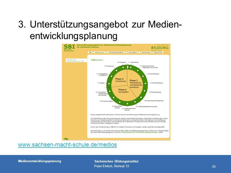 Medienentwicklungsplanung Sächsisches Bildungsinstitut Peter Ehrlich, Referat 13 25 3.Unterstützungsangebot zur Medien- entwicklungsplanung www.sachsen-macht-schule.de/medios