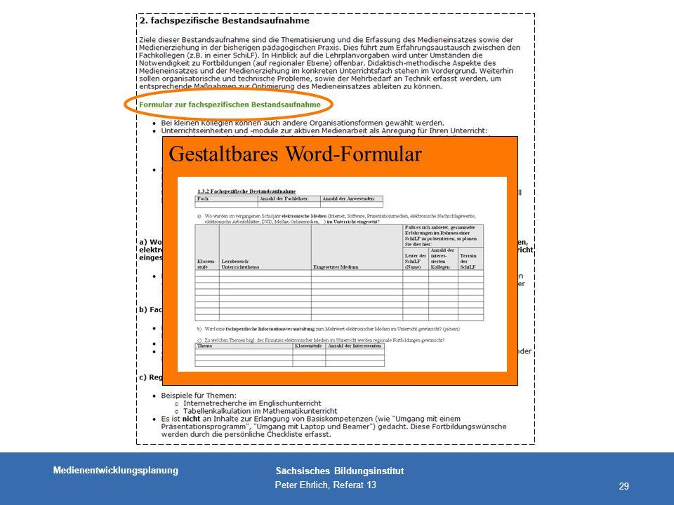 Medienentwicklungsplanung Sächsisches Bildungsinstitut Peter Ehrlich, Referat 13 29 Gestaltbares Word-Formular