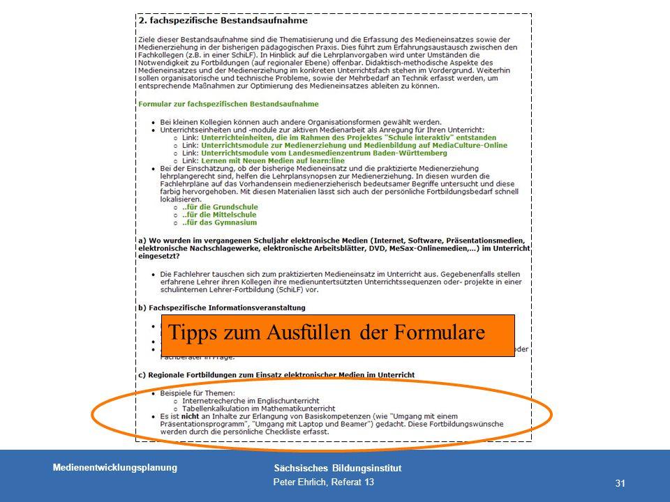 Medienentwicklungsplanung Sächsisches Bildungsinstitut Peter Ehrlich, Referat 13 31 Tipps zum Ausfüllen der Formulare