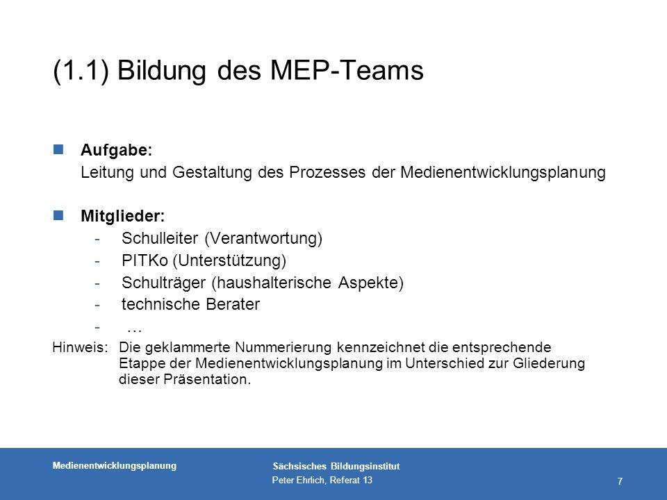 Medienentwicklungsplanung Sächsisches Bildungsinstitut Peter Ehrlich, Referat 13 28 Erläuterung zum Ziel dieser Etappe