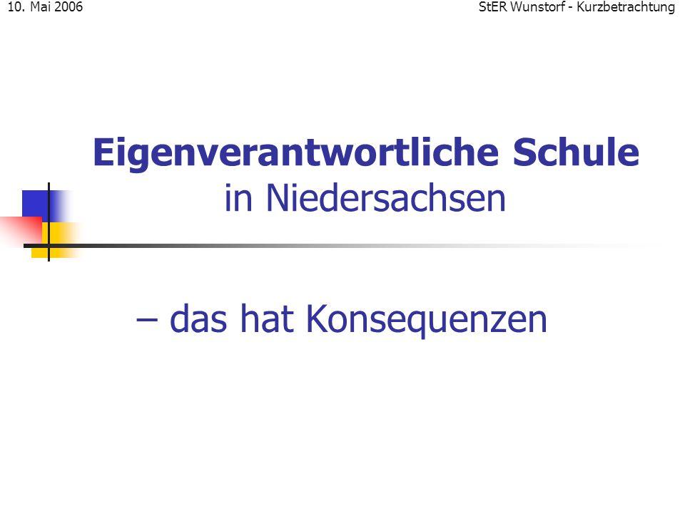 StER Wunstorf - Kurzbetrachtung10. Mai 2006 Eigenverantwortliche Schule in Niedersachsen – das hat Konsequenzen
