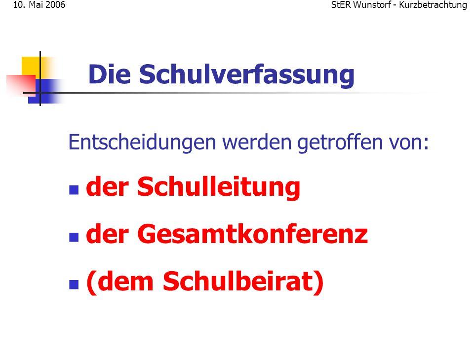 StER Wunstorf - Kurzbetrachtung10. Mai 2006 Die Schulverfassung Entscheidungen werden getroffen von: der Schulleitung der Gesamtkonferenz (dem Schulbe