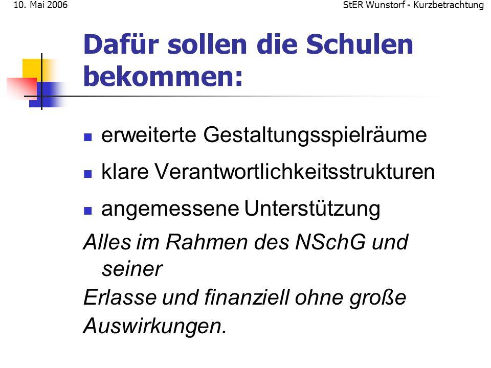 StER Wunstorf - Kurzbetrachtung10. Mai 2006 Dafür sollen die Schulen bekommen: erweiterte Gestaltungsspielräume klare Verantwortlichkeitsstrukturen an