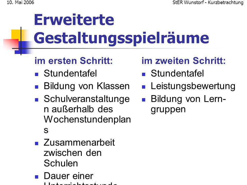 StER Wunstorf - Kurzbetrachtung10. Mai 2006 Erweiterte Gestaltungsspielräume im ersten Schritt: Stundentafel Bildung von Klassen Schulveranstaltunge n