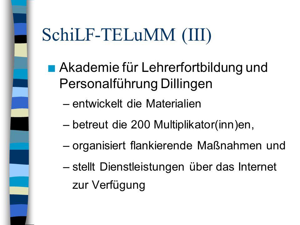 SchiLF-TELuMM (III) n Akademie für Lehrerfortbildung und Personalführung Dillingen –entwickelt die Materialien –betreut die 200 Multiplikator(inn)en, –organisiert flankierende Maßnahmen und –stellt Dienstleistungen über das Internet zur Verfügung