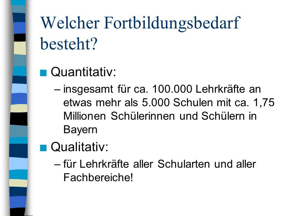 Welcher Fortbildungsbedarf besteht. n Quantitativ: –insgesamt für ca.