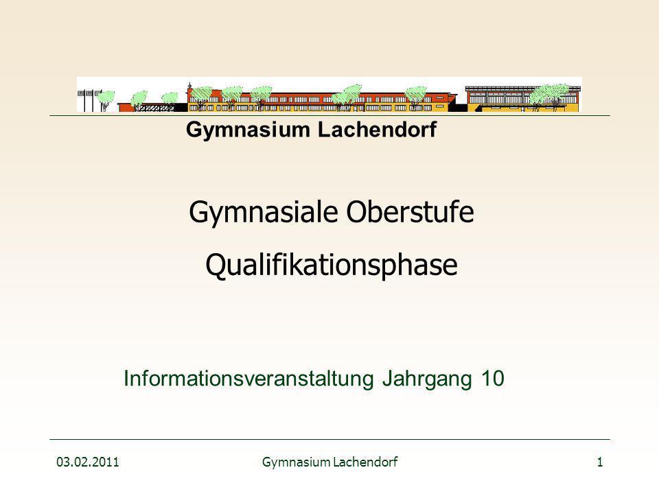 03.02.2011Gymnasium Lachendorf1 Informationsveranstaltung Jahrgang 10 Gymnasiale Oberstufe Qualifikationsphase