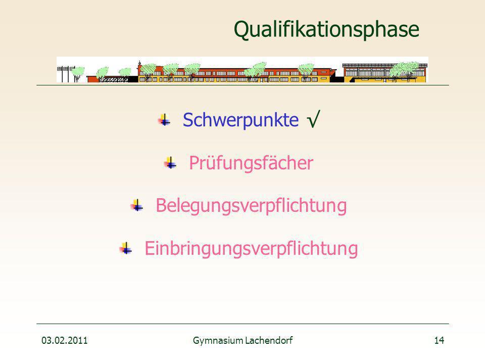 03.02.2011Gymnasium Lachendorf14 Qualifikationsphase Schwerpunkte √ Prüfungsfächer Belegungsverpflichtung Einbringungsverpflichtung