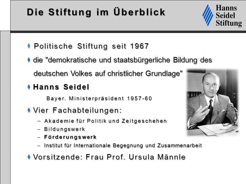 Die Stiftung im Überblick Politische Stiftung seit 1967 die