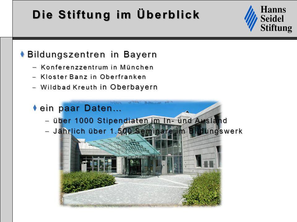 Die Stiftung im Überblick Bildungszentren in Bayern Bildungszentren in Bayern  Konferenzzentrum in München  Kloster Banz in Oberfranken  Wildbad Kr